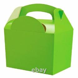 10 Childrens Lime Green Gift Boxes Birthday Party Snack Lunch Meal Food Box