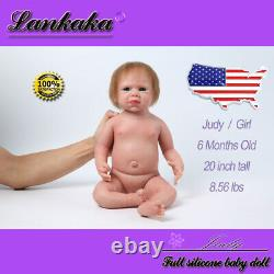 20 Realistic Soft Silicone Reborn Baby Dolls with Hair for Kids Birthday Gift