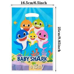 50 Pack Baby Shark Favor Little Gift Bags For Kids Birthday Party Supplies Treat