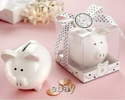 60 li'l Saver White Ceramic Piggy Bank Baby Shower Birthday Party Gift Favors