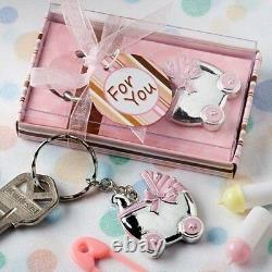 70 Pink Baby Carriage Design Key Chain Baby Shower Birthday Party Gift Favors