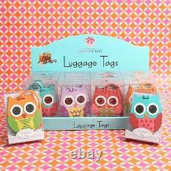 72 Owl Luggage Tags Four Assorted Colors Baby Shower Birthday Party Gift Favors