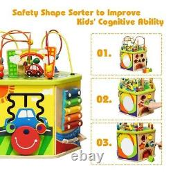 7-in-1 Wooden Activity Cube Toy Kids Party Gift Birthday Educational Indoor