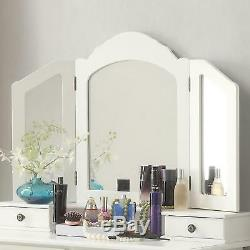 BEST Teen Birthday Gifts For Girls, White Wooden Makeup Table, Mirror, Stool Set