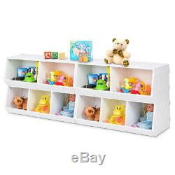 Bedroom Toy Storage Cabinet Flexible Stackable Bookcase Kids Birthday Gift White