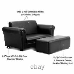 Black Kids Sofa Armrest Chair Couch Lounge Children Birthday Gift with Ottoman