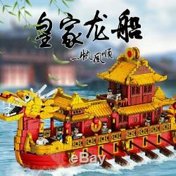 Building Blocks Set for Kids Toys Chinese Style Royal Dragon Boat Birthday Gifts