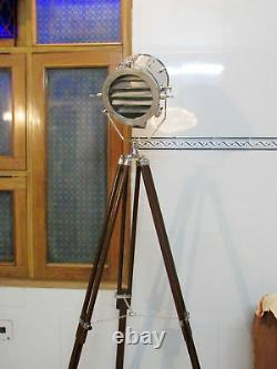 Designer Nautical Tripod Floor Lamp Searchlight With Wood Tripod Stand Gift