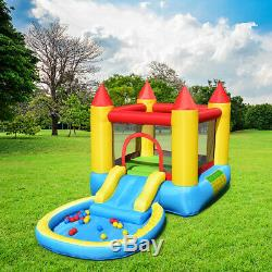 Kids Inflatable Bounce House Slide Castle Pool withBalls 580W Blower Birthday Gift