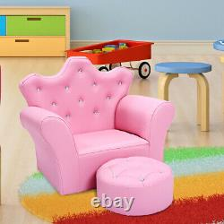 Kids Sofa Armrest Chair Couch withOttoman Children Toddler Girl Birthday Gift Pink