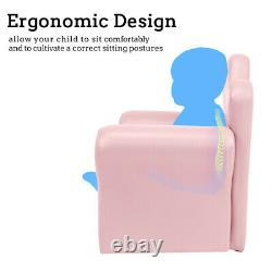 Light Pink Kids Sofa Armrest Chair Couch Childs Toddler Birthday Gift with Ottoman
