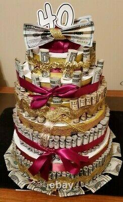 Money Cake withREAL MONEY Handmade gift for birthday graduation baby shower by CTM