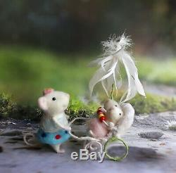 Needle felted mice Birthday gifts art Mother baby twins shower party presents