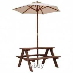 Outdoor 4-Seat Kid's Picnic Table Bench with Umbrella Christmas Birthday Gifts