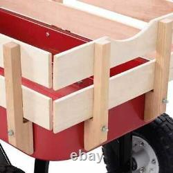 Outdoor Pulling Garden Cart Wagon with Wood Railing Kids Christmas Birthday Gift