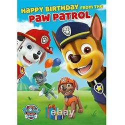 PAW PATROL SOUND Birthday Greeting Card or Gift Wrap Official Marshall Rubble
