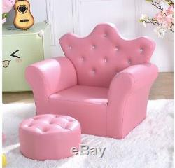 Pink Kids Sofa Armrest Chair Couch Children Toddler Birthday Gift with Ottoman