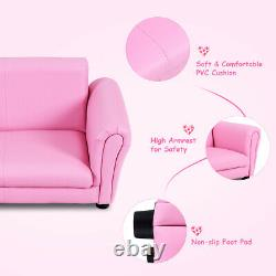 Pink Kids Sofa Armrest Chair Couch Lounge Children Birthday Gift with Ottoman New