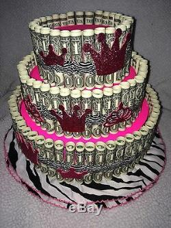 Pink Money Cake Made with REAL MONEY gift for birthday graduation baby shower