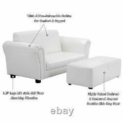 White Kids Sofa Armrest Chair Couch Lounge Children Birthday Gift with Ottoman