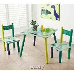 Wooden Dinosaur Kids Table with 2 Chairs/Kids Table and Chairs/Birthday Gift