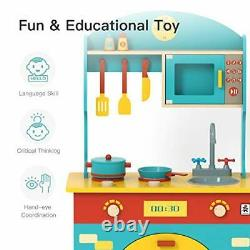 Wooden Play Kitchen Set for Kids & Toddlers, Toy Gift for ChristmasBirthday